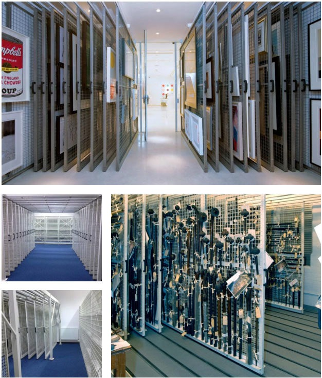 Wide ranging picture racking art storage systems