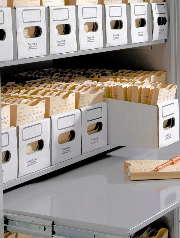 Invicta Mobile Shelving's patient notes storage system is the ideal solution for secure high-density storage of patient notes ensuring there is secure access to patient information.
