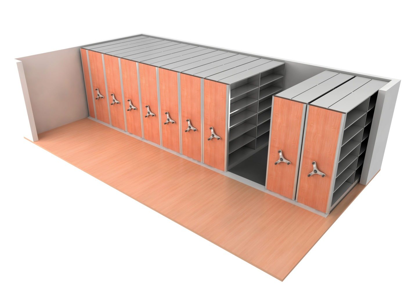 Compact Storage units are standard shelving components mounted upon mobile bases that run effortlessly on tracks.